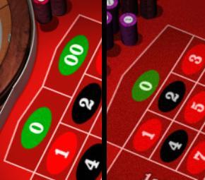 Forskjellen mellom de to ulike typene roulette er antallet 0er (grønn).
